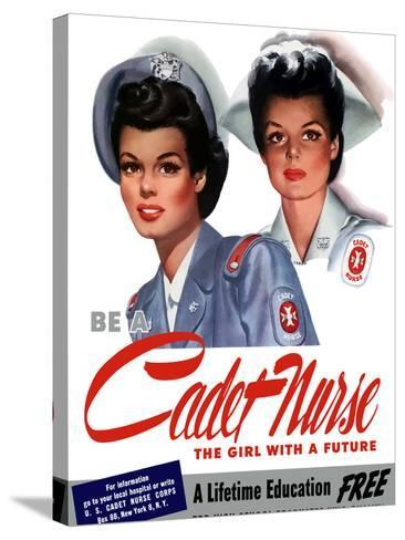 Vintage World War II Poster of Two Smiling Young Nurses-Stocktrek Images-Stretched Canvas Print