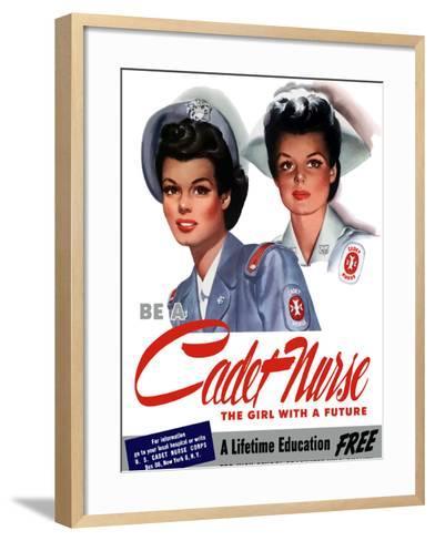 Vintage World War II Poster of Two Smiling Young Nurses-Stocktrek Images-Framed Art Print
