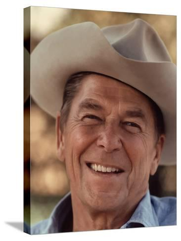 Digitally Restored Vector Portrait of President Ronald Reagan Wearing a Cowboy Hat-Stocktrek Images-Stretched Canvas Print