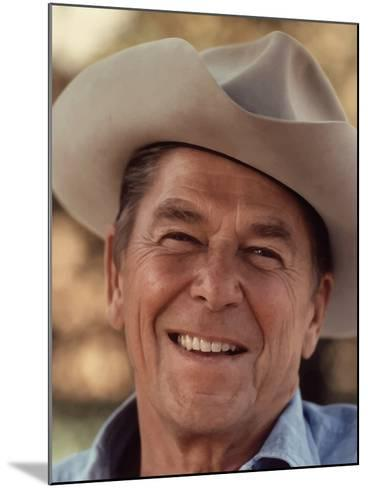 Digitally Restored Vector Portrait of President Ronald Reagan Wearing a Cowboy Hat-Stocktrek Images-Mounted Photographic Print
