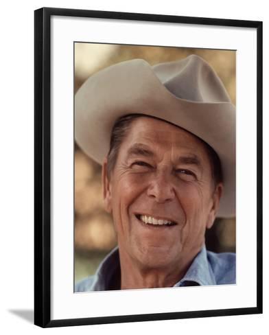 Digitally Restored Vector Portrait of President Ronald Reagan Wearing a Cowboy Hat-Stocktrek Images-Framed Art Print