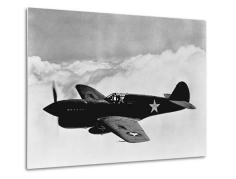 Vintage World War II Photo of a P-40 Fighter Plane-Stocktrek Images-Metal Print