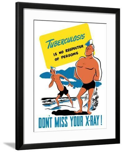 Vintage World War II Poster of Two Sailors On the Beach, One Muscular, One Skinny-Stocktrek Images-Framed Art Print