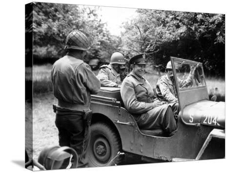 Vintage World War II Photo of General Dwight D. Eisenhower Sitting in a Jeep-Stocktrek Images-Stretched Canvas Print