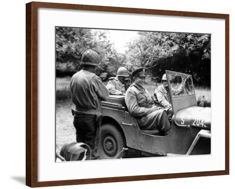 Vintage World War II Photo of General Dwight D. Eisenhower Sitting in a Jeep-Stocktrek Images-Framed Art Print
