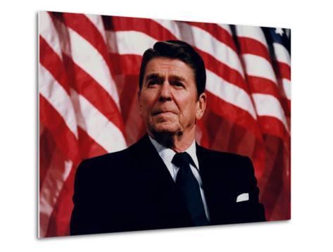 Digitally Restored Vector Photo of President Ronald Reagan in Front of American Flag-Stocktrek Images-Metal Print