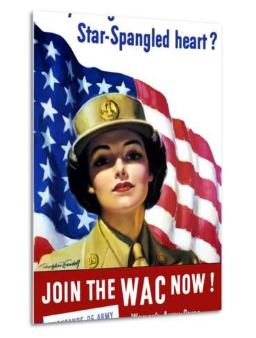 Vintage World War II Poster of a Member of the Women's Army Corps-Stocktrek Images-Metal Print