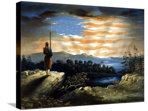 Vintage Civil War Painting of a Lone Zouave Sentry Overlooking a Cliff-Stocktrek Images-Stretched Canvas Print
