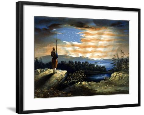 Vintage Civil War Painting of a Lone Zouave Sentry Overlooking a Cliff-Stocktrek Images-Framed Art Print