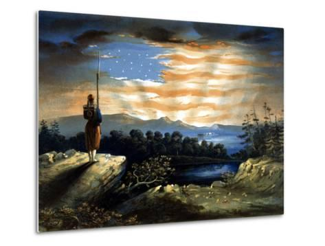 Vintage Civil War Painting of a Lone Zouave Sentry Overlooking a Cliff-Stocktrek Images-Metal Print