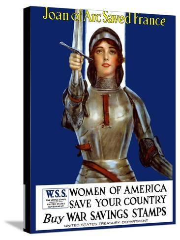 Vintage World War One Poster of Joan of Arc Wearing Armor, Raising a Sword-Stocktrek Images-Stretched Canvas Print