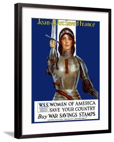 Vintage World War One Poster of Joan of Arc Wearing Armor, Raising a Sword-Stocktrek Images-Framed Art Print