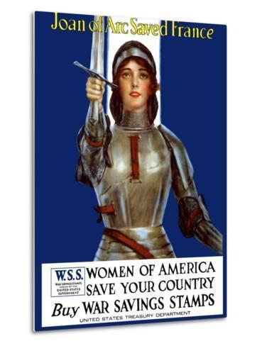 Vintage World War One Poster of Joan of Arc Wearing Armor, Raising a Sword-Stocktrek Images-Metal Print