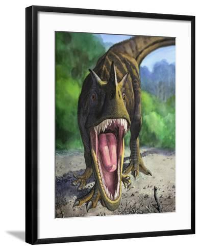 An Angry Ceratosaurus Dentisulcatus Dinosaur Shows Its Fierce Teeth-Stocktrek Images-Framed Art Print