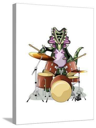 Illustration of a Chasmosaurus Playing the Drums-Stocktrek Images-Stretched Canvas Print