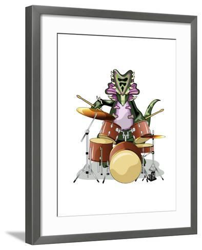 Illustration of a Chasmosaurus Playing the Drums-Stocktrek Images-Framed Art Print