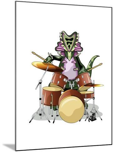 Illustration of a Chasmosaurus Playing the Drums-Stocktrek Images-Mounted Photographic Print