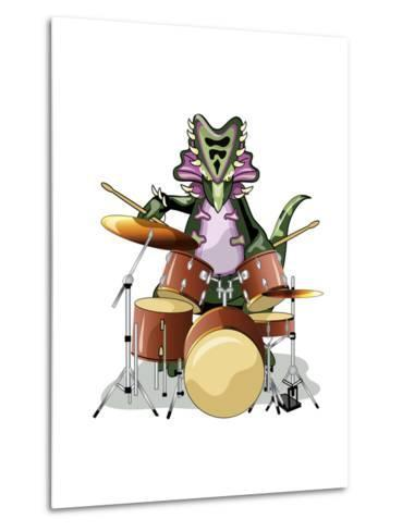 Illustration of a Chasmosaurus Playing the Drums-Stocktrek Images-Metal Print