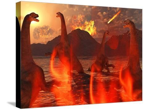A Herd of Dinosaurs Struggle For Survival During the End of Time-Stocktrek Images-Stretched Canvas Print