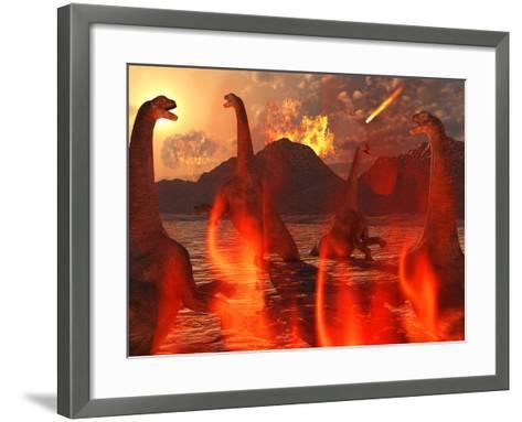 A Herd of Dinosaurs Struggle For Survival During the End of Time-Stocktrek Images-Framed Art Print