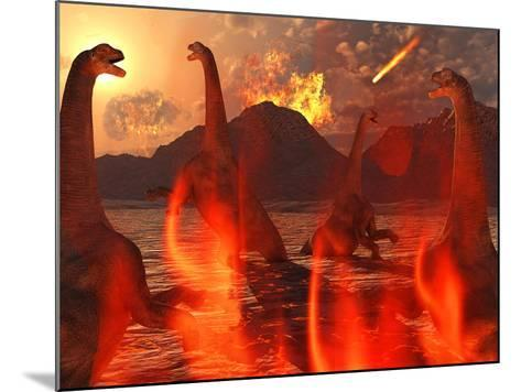 A Herd of Dinosaurs Struggle For Survival During the End of Time-Stocktrek Images-Mounted Photographic Print