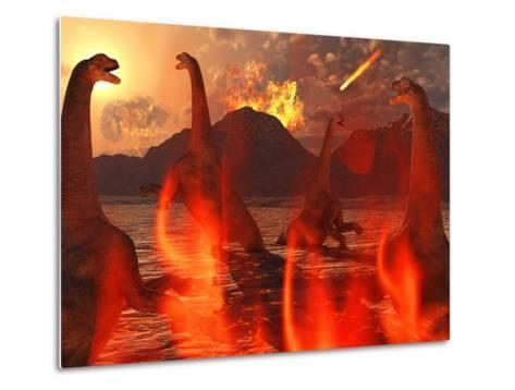A Herd of Dinosaurs Struggle For Survival During the End of Time-Stocktrek Images-Metal Print