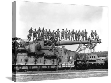 U.S. Army Soldiers Stand On Top of a Large 274mm Railroad Gun-Stocktrek Images-Stretched Canvas Print