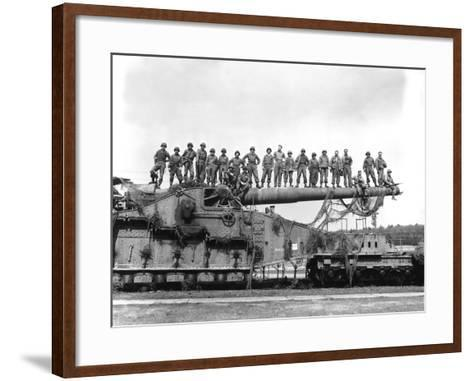 U.S. Army Soldiers Stand On Top of a Large 274mm Railroad Gun-Stocktrek Images-Framed Art Print