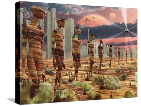 Astronaut Exploring the Remains of An Ancient Alien Civilization-Stocktrek Images-Stretched Canvas Print