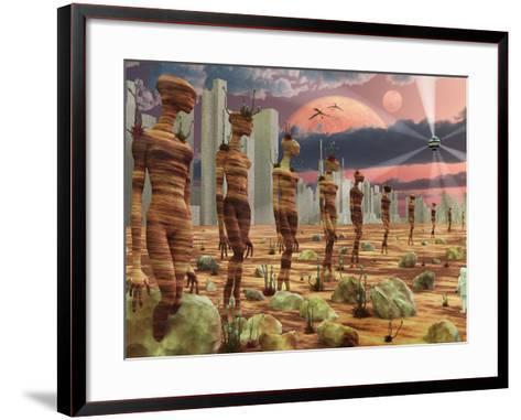 Astronaut Exploring the Remains of An Ancient Alien Civilization-Stocktrek Images-Framed Art Print