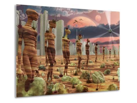 Astronaut Exploring the Remains of An Ancient Alien Civilization-Stocktrek Images-Metal Print