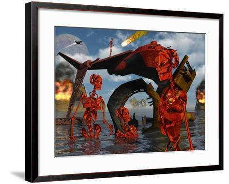 A Team of Androids Break Down Objects To Their Scrap Value-Stocktrek Images-Framed Art Print