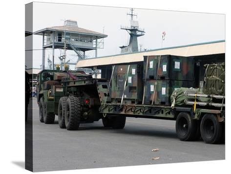 A U.S. Marine Corps MK48 Logistics Vehicle System-Stocktrek Images-Stretched Canvas Print