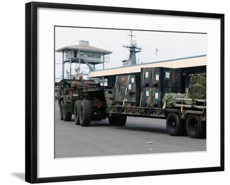 A U.S. Marine Corps MK48 Logistics Vehicle System-Stocktrek Images-Framed Art Print