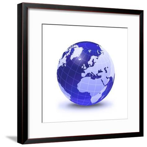 Stylized Earth Globe with Grid, Showing Europe And Africa-Stocktrek Images-Framed Art Print