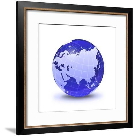 Stylized Earth Globe with Grid, Showing Asia And Europe-Stocktrek Images-Framed Art Print