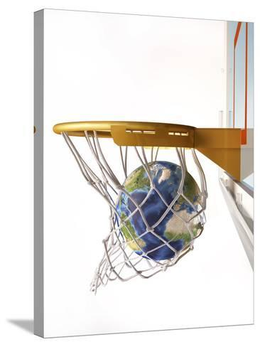 3D Rendering of Planet Earth Falling Into a Basketball Hoop-Stocktrek Images-Stretched Canvas Print