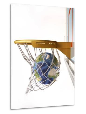 3D Rendering of Planet Earth Falling Into a Basketball Hoop-Stocktrek Images-Metal Print