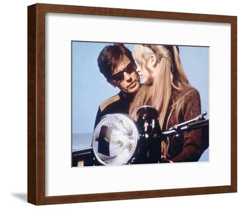 The Girl on a Motorcycle--Framed Art Print