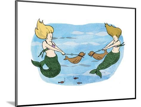 Mermaids holing their sea lion pups away from each other. - Cartoon-Emily Flake-Mounted Premium Giclee Print