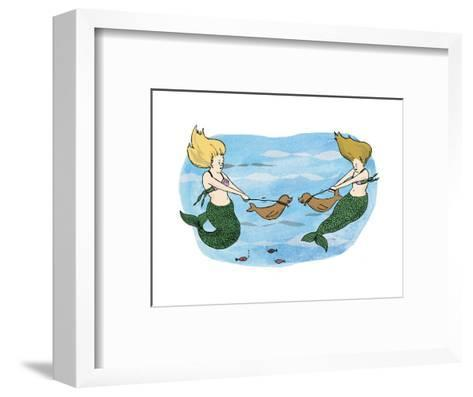 Mermaids holing their sea lion pups away from each other. - Cartoon-Emily Flake-Framed Art Print