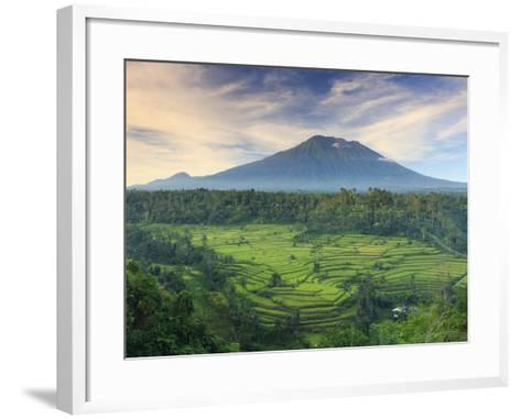Indonesia, Bali, Redang, View of Rice Terraces and Gunung Agung Volcano-Michele Falzone-Framed Art Print