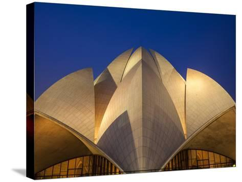 India, Delhi, New Delhi, Bahai House of Worship Know As the The Lotus Temple-Jane Sweeney-Stretched Canvas Print