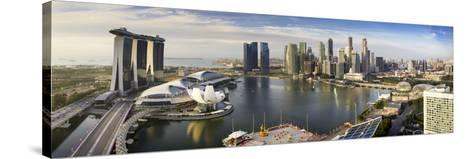 The Helix Bridge and Marina Bay Sands, Elevated View Over  Singapore. Marina Bay, Singapore-Gavin Hellier-Stretched Canvas Print