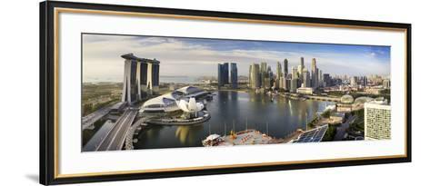 The Helix Bridge and Marina Bay Sands, Elevated View Over  Singapore. Marina Bay, Singapore-Gavin Hellier-Framed Art Print