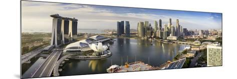 The Helix Bridge and Marina Bay Sands, Elevated View Over  Singapore. Marina Bay, Singapore-Gavin Hellier-Mounted Photographic Print