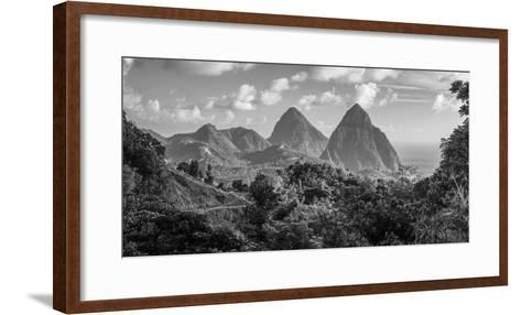 Caribbean, St Lucia, Petit and Gros Piton Mountains (UNESCO World Heritage Site)-Alan Copson-Framed Art Print