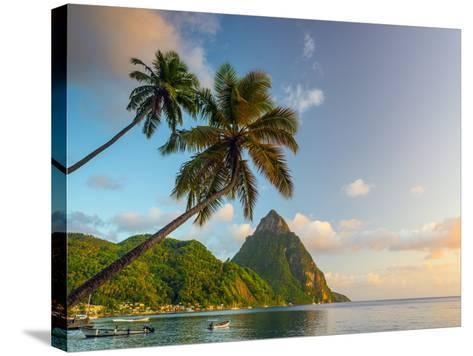 Caribbean, St Lucia, Soufriere Bay, Soufriere Beach and Petit Piton, Traditional Fishing Boats-Alan Copson-Stretched Canvas Print