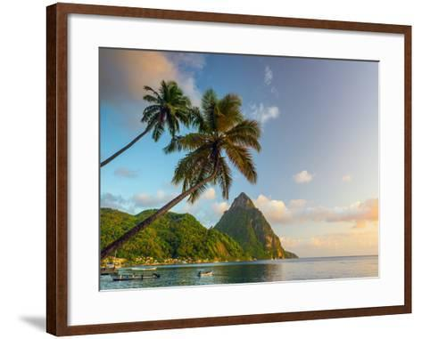 Caribbean, St Lucia, Soufriere Bay, Soufriere Beach and Petit Piton, Traditional Fishing Boats-Alan Copson-Framed Art Print