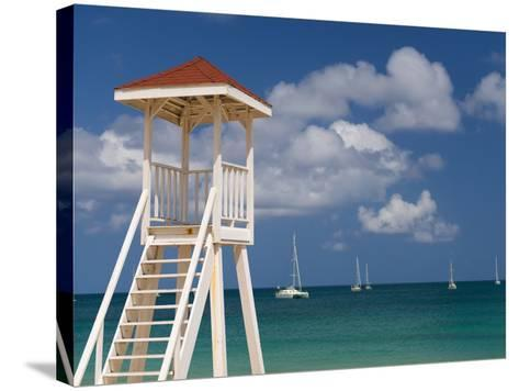 Caribbean, St Lucia, Gros Islet, Rodney Bay, Reduit Beach, Life Guard Lookout-Alan Copson-Stretched Canvas Print